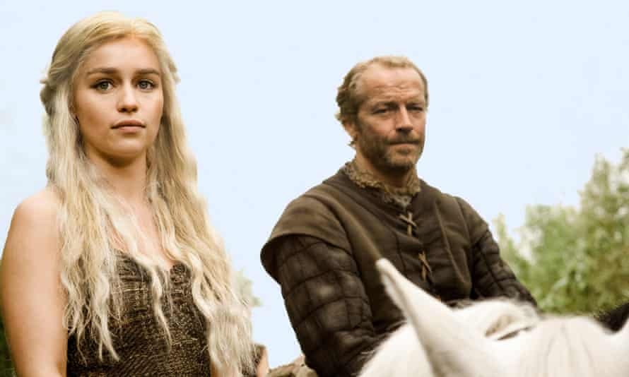 Emilia Clarke and Iain Glen in the first series of Game of Thrones.