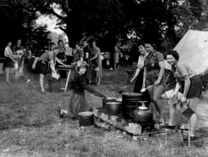 Girl Guides at Windsor World Guide camp in August 1957