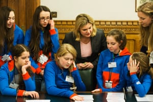 The Girl Guides at Parliament this evening for the unveiling of the new badge with MP Justine Greening