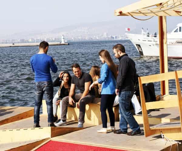 Izmir residents enjoy the floating docks