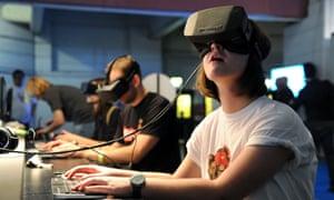 Woman using Oculus Rift