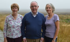 Feature on the UK's biggest community energy project, Isle of  Lewis in the Western Isles, Scotland: volunteers Agnes Rennie, Norman Thomson and Carola Bell