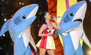 Katy Perry performing at Super Bowl XLIX with her shark-costume dancers