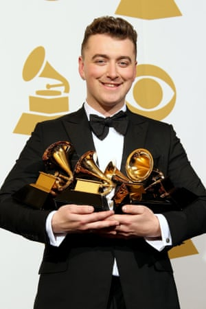 Sam Smith at the Grammy awards after winning record of the year and song of the year for Stay With Me, best pop vocal album for In the Lonely Hour and best new artist.