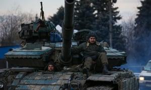 Ukrainian soldiers on a tank