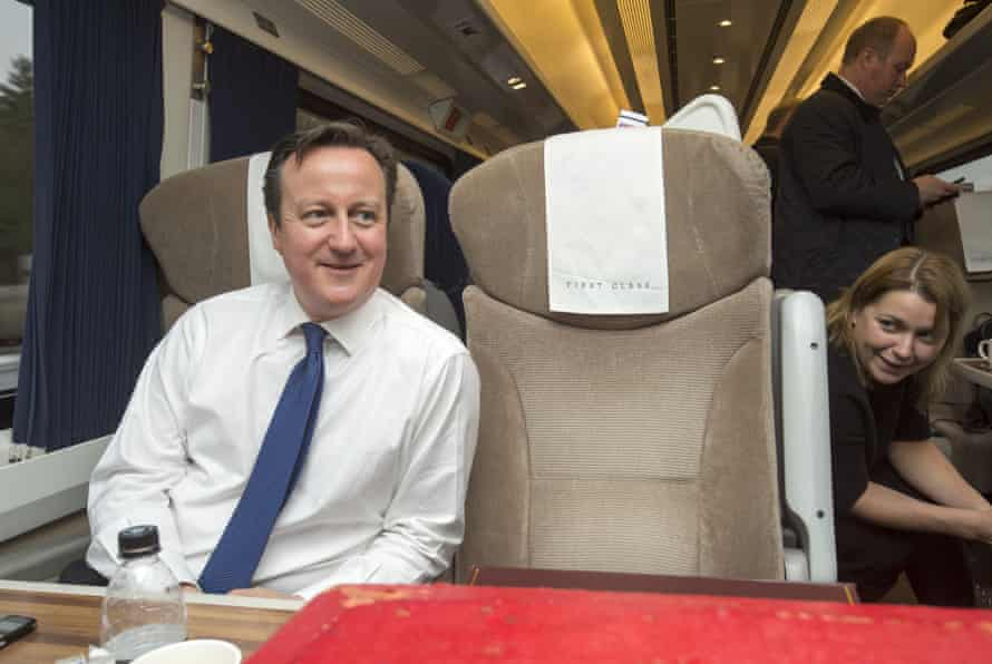 David Cameron travelling by train to Doncaster in February.