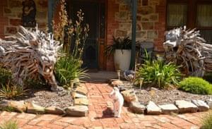 Domestic garden with lions Callington, South Australia