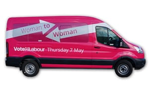 Labour's pink minibus, which will be used to launch the Woman to Woman campaign