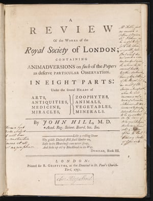 Title-page of Review of the Works of the Royal Society by John Hill (London, 1751)