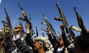 Tribal gunmen loyal to the Shiite Houthi group show support to the group during a gathering in Sana'a, Yemen.