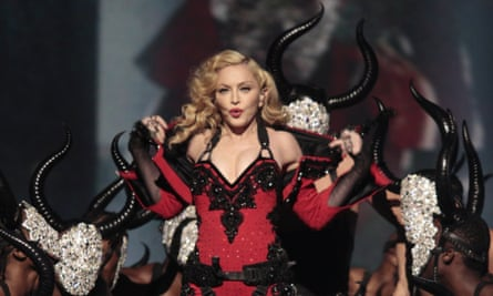 Madonna performs during The 57th Annual Grammy Awards