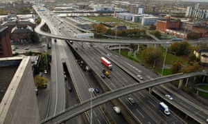 An aerial view of the M8 motorway and the Kingston Bridge in Glasgow