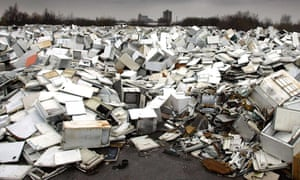 an ocean of fridges at a site near to the Manchester Ship Canal, Manchester.  More than 26 million fridges, freezers and washing machines have been dumped in the past five years