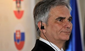 Austrian Chancellor Werner Faymann is pictured during a press conference