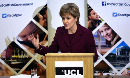 Nicola Sturgeon, Scotland first minister, gives a speech at UCL