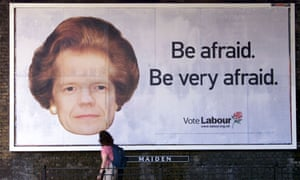 William Hague gets a Thatcher makeover in Labour's 2001 poster. Photograph: Stephen Hird/Reuters