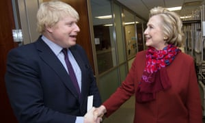 Boris Johnson meeting Hillary Clinton at her office in New York.