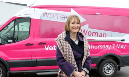 Harriet Harman with her party's Woman to Woman election bus
