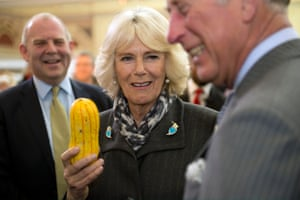 Camilla, Duchess of Cornwall and Prince Charles share a joke as Raymond Blanc looks on during the 2014 Edible Garden Show.