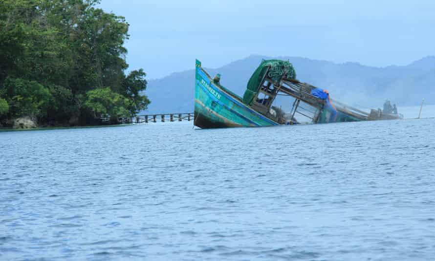 An illegal Vietnamese vessel caught with shark fins & endangered turtles is sunk in the Raja Ampat archieplago off the coast of West Papua, Indonesia