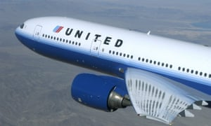 A newly painted United Airlines jet.