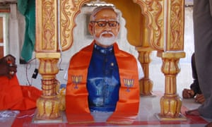 A statue of India's prime minister, Narendra Modi, at a temple erected in his honour.