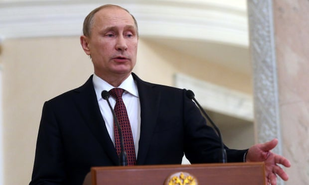 Russian president Vladimir Putin speaks at a press conference after peace talks over the Ukraine crisis in Minsk, Belarus.
