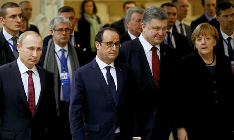 Vladimir Putin, Francis Hollande, Petro Poroshenko and Angela Merkel