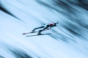 Conquering speed by Sergei Ilnitsky won 2nd Prize in Sports stories category. Shows ski jumper Marinus Kraus of Germany in action during the qualifying round of the HS134 FIS Ski Jumping World Cup in Nizhny Tagil, Russia.