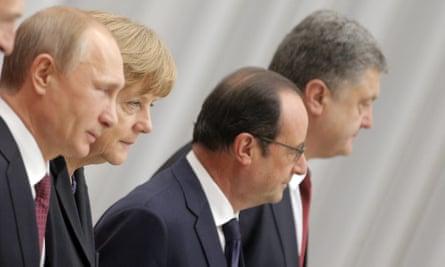 Vladimir Putin, Angela Merkel, François Hollande and Petro Poroshenko