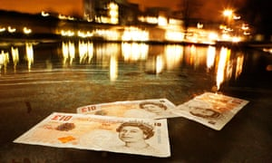 Banknotes floating