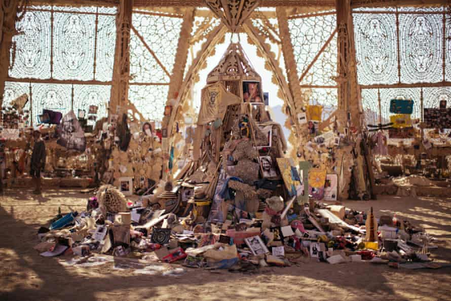 The Temple of Grace interior, filled with people's messages, mementoes and and photographs.