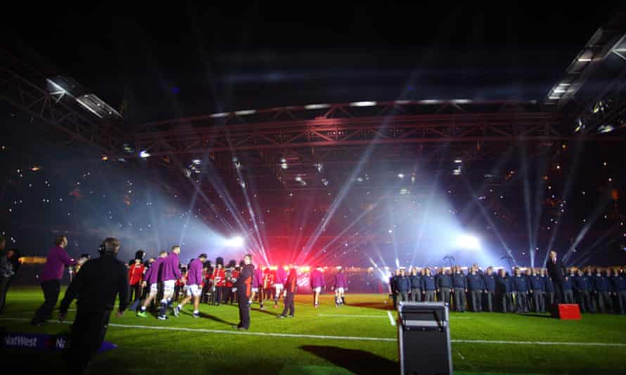 England walk on to the Millennium Stadium pitch during a light show before kick off at RBS Six Nations 2015 Wales v England Millennium Stadium, Cardiff.
