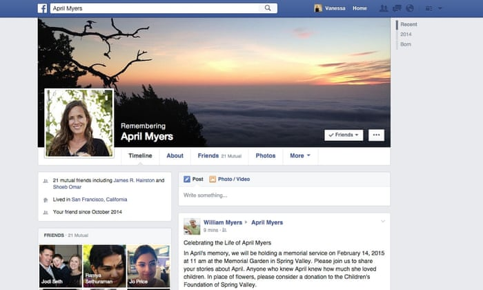 Image result for deceased person's account on Facebook