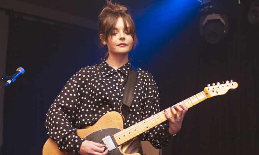 Stina Tweeddale of Honeyblood performs on stage for the NME Awards Show in London.