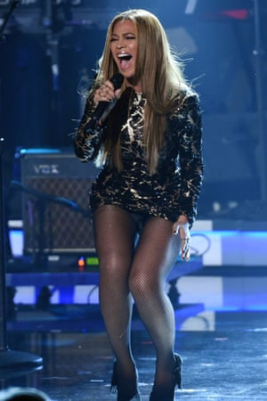 """Beyonce performs at """"Stevie Wonder: Songs in the Key of Life - An All-Star Grammy Salute,"""" at the Nokia Theatre L.A. Live on 10 February 2015, in Los Angeles."""