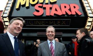 Nigel Farage at the Movie Starr cinema in Canvey Island, where he was speaking this morning.