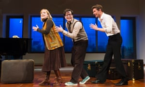 Jenna Russell (Mary Flynn), Damian Humbley (Charley Kringas) and Mark Umbers (Franklin Shepard),  in Merrily We Roll Along by Stephen Sondheim at the Harold Pinter Theatre, May 2013.