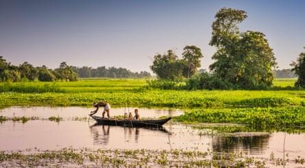 Fishing in a lagoon on Majuli Island, Assam.