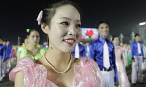 North Korea women night dancing in Kim Il-Sung Square
