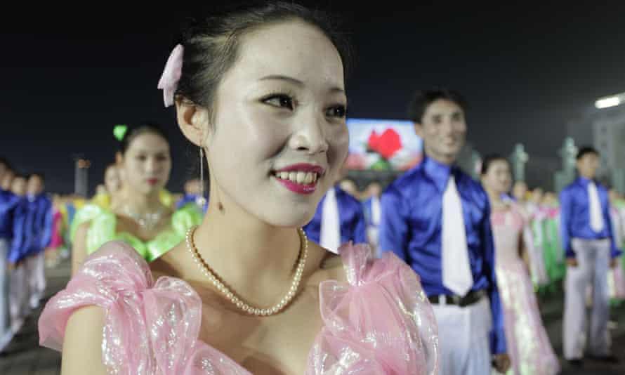 North Korea women night dancing in Kim Il-Sung Square