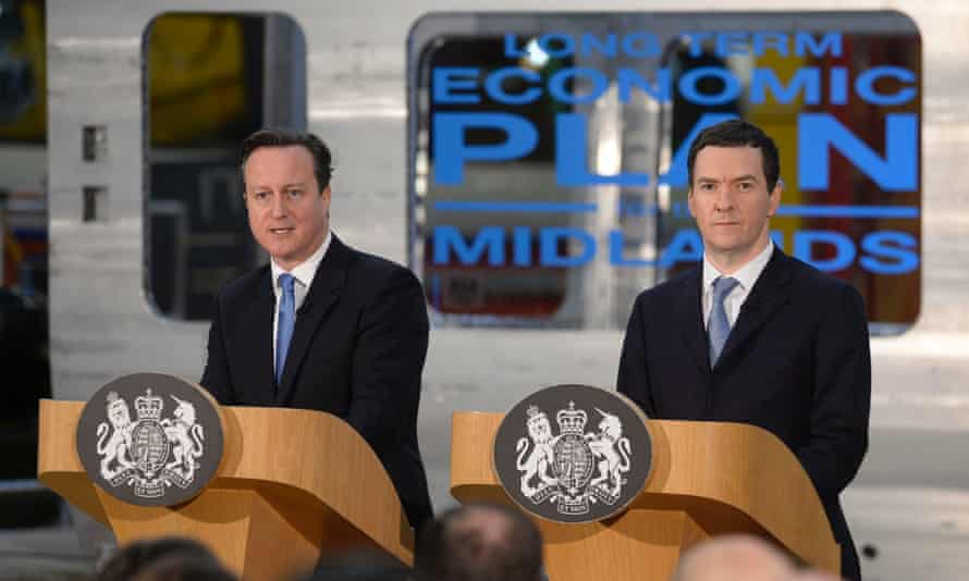 David Cameron and George Osborne at the the Bombardier factory in Derby