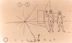 Above, images and symbols etched on Nasa's Pioneer plaque that was attached to the Pioneer 10 spacecraft before it was launched into space on 2 March 1972.