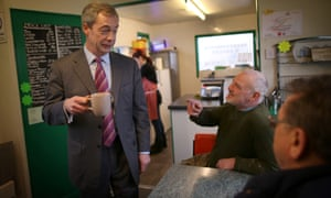 Nigel Farage sticks to tea as he campaigns at the Smallgains boatyard in Canvey Island. 'Voting Ukip is an attitude of mind,' he told wannabe insurgents.
