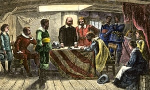 The signing of the Mayflower Compact.