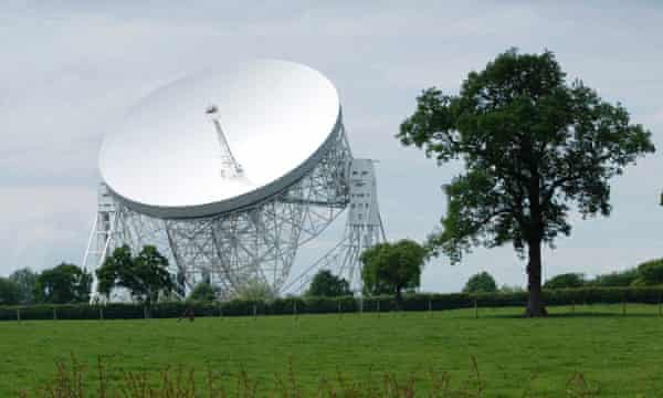The radio telescope tries to pick up signals from a pulsar as the star spins on its axis.