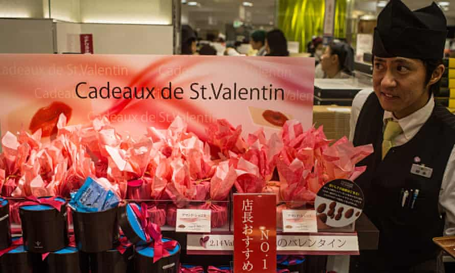 A chocolate stall for Valentine's Day in Tokyo Japan
