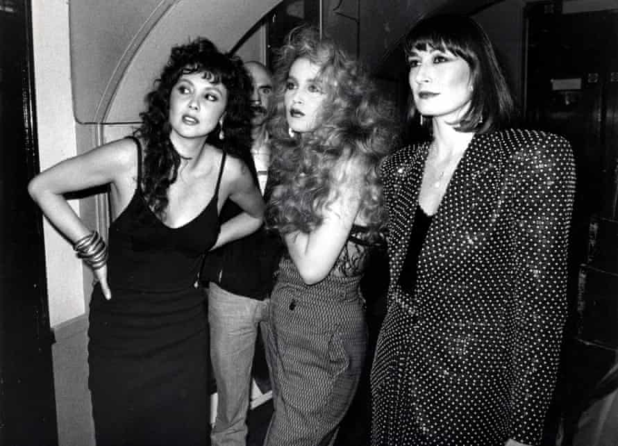 Marie Helvin, left, with Jerry Hall and Anjelica Huston in 1985.