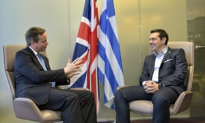 UK prime minister David Cameron meets his Greek counterpart Alexis Tsipras during Thursday's EU summit in Brussels.