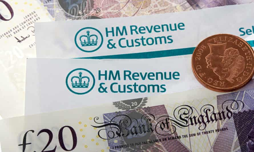 HMRC tax return letters with money